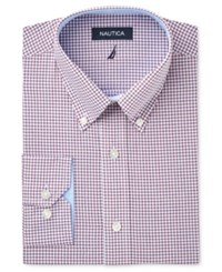 Nautica Men's Fitted Wine Chambray Dress Shirt Pink