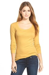 Petite Women's Caslon 'Melody' Long Sleeve Scoop Neck Tee Olive Sauterne