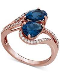 Macy's London Blue Topaz 2 3 5 Ct. T.W. And Diamond 1 4 Ct. T.W. In 10K Rose Gold