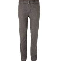 Massimo Alba Winch Slim Fit Houndstooth Wool Trousers Gray