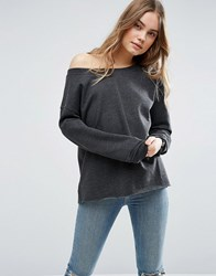 Asos Sweatshirt In Off Shoulder Boxy Fit Charcoal Marl Grey