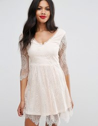 Girls On Film Lacey Skater Dress Nude Pink
