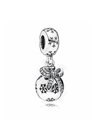 Pandora Design Dangle Charm Sterling Silver And Cubic Zirconia Christmas Ornament Moments Collection Clear Silver