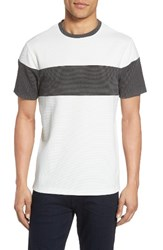 Vince Camuto Men's Colorblock Mesh T Shirt White With Heather Charcoal