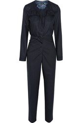 A.P.C. Atelier De Production Et De Creation Ruffle Trimmed Wool Flannel Jumpsuit Midnight Blue
