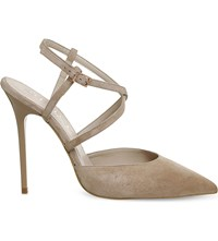 Office Here We Go Strappy Suede Courts Nude Suede