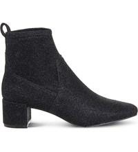 Office Glitter Stretch Ankle Boots Black Glitter