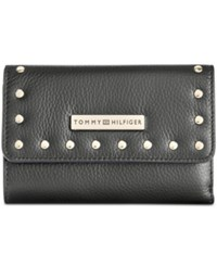 Tommy Hilfiger Studded Pebble Leather Medium Flap Wallet Black