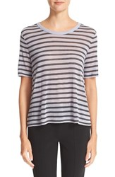 Alexander Wang Women's T By Stripe Rayon And Linen Tee Lavender Charcoal