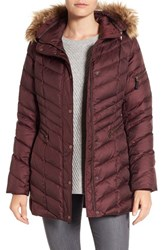 Andrew Marc New York Women's Quilted Down Jacket With Faux Fur Trim Burgundy