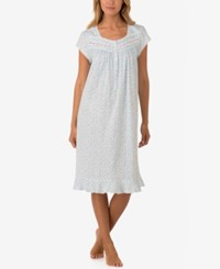 Eileen West Lace Trimmed Printed Waltz Length Nightgown White Ditsy