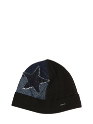 Diesel Star Patchwork Denim And Fleece Beanie