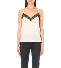 The Kooples Lace Trim Silk Camisole Black