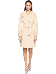 Drome Croc Embossed Leather Trench Coat Beige
