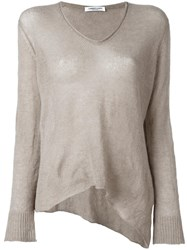 Lamberto Losani V Neck Knitted Blouse Nude Neutrals