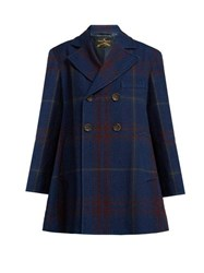 Vivienne Westwood Anglomania Checked Cotton And Wool Blend Coat Navy Multi