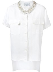 Forte Couture 'Honour' Embellished Collar Button Down Shirt White
