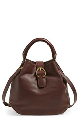 Etienne Aigner Mini Leather Bucket Bag Brown Cordovan Moto