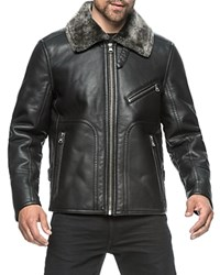Andrew Marc New York Faux Fur Trim Faux Leather Jacket Compare At 250 Black