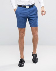 Asos Wedding Super Skinny Suit Shorts In Mid Blue Stretch Linen Cotton Mid Blue