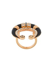 Ca And Lou Crystal Embellished Ring Black