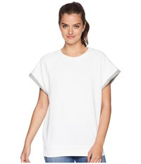 7 For All Mankind Two Tone Muscle Sweatshirt Optic White Heather Grey Contrast
