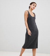 Micha Lounge Luxe Midi Dress With Scoop Neck In Rib Knit Grey