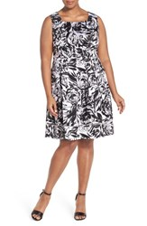 Plus Size Women's Ellen Tracy Print Stretch Cotton Fit And Flare Dress
