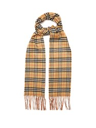 Burberry Classic Vintage Check Reversible Cashmere Scarf Beige Multi