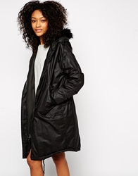 Monki Faux Fur Hooded Parka Black