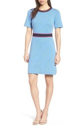 Draper James Stripe Persley Ponte Fit And Flare Dress Blue White