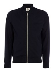Bellfield Hakone Zip Thru Baseball Collar Bomber Jacket Navy