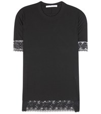 Givenchy Lace Trimmed Silk Blend T Shirt Black