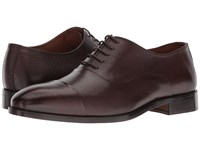 Massimo Matteo Pebbled Bal Ct Chocolate Lace Up Cap Toe Shoes Brown