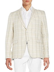 Sand Star Windowpane Plaid Linen Jacket Beige Khaki