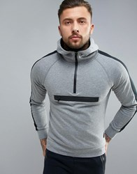 Blend Of America Active Pull Over Hoody With Zip 70817 Pewter Mix Grey
