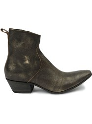 Haider Ackermann Distressed Cowboy Boots Metallic