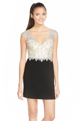 Sean Collection Embellished Mesh And Jersey Minidress Black Champagne