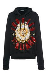 Dolce And Gabbana Beaded Detail Hooded Sweatshirt Black