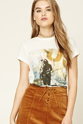 Forever 21 Abstract Music Tee Cream Black