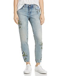 Blank Nyc Blanknyc Embroidered Straight Leg Jeans In Green Thumb Blue