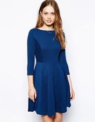 Mela Loves London Skater Dress With Long Sleeves Blue