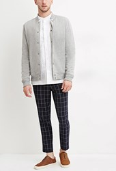 Forever 21 Slim Fit Grid Patterned Pants Navy White