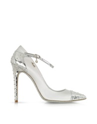 Loriblu White Satin And Silver Leather Jewel Pump