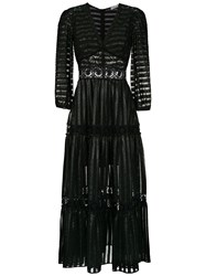 Martha Medeiros Striped Dress Black