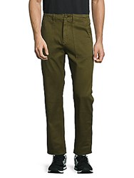 Earnest Sewn Solid Cotton Pants Army Green