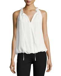 Max Studio Tie Neck Sleeveless Blouse Off White