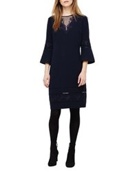 Phase Eight Pandora Embroidered Bell Sleeve Dress Navy