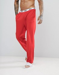Asos Straight Leg Jersey Pyjama Bottom With Branded Waistband In Red