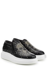 Alexander Mcqueen Embellished Slip On Leather Sneakers Black